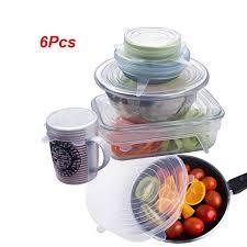 JRing <b>6Pcs Silicone</b> Stretch Lids Covers, <b>Silicone</b> Lids Food and ...