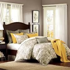 cool elegant grey yellow bedroom