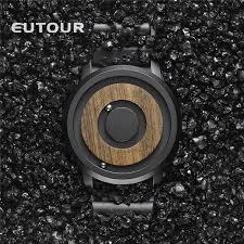 <b>EUTOUR Minimalist Novelty Wood</b> Dial Scaleless Magnetic Watch ...