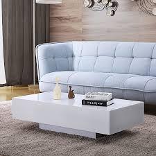 Mecor <b>High Gloss</b> White Rectangle <b>Coffee Table</b> Living Room Home ...