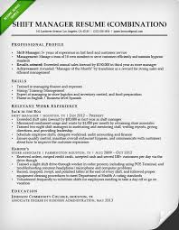 fast food shift manager free combination resume template