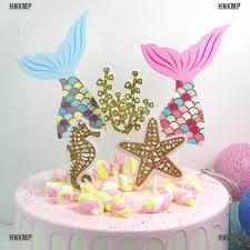 AN* <b>5pcs</b>/set <b>cute</b> mermaid tail starfish coral seahorse cake toppers ...