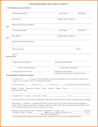 daycare contract info 9 daycare contract template worker resume