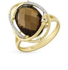 Золотое <b>кольцо с топазом</b>, <b>раухтопазом</b> и бриллиантами