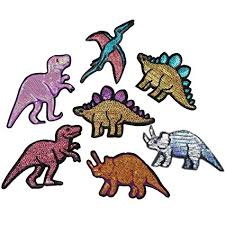 7 Pcs Sequins Animal <b>Dinosaurs</b> Stickers <b>Embroidered Sewing</b> On ...