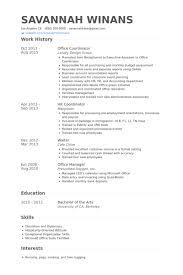 office coordinator resume samples   visualcv resume samples databaseoffice coordinator resume samples
