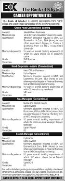 the bank of khyber latest job opportunities 2016