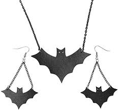 Vintage Retro <b>Halloween Bat</b> Dangle Earring Black <b>PU</b> Leathers ...