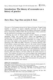 tiago tiago mata introduction the history of economics as a history of practice in the european journal of the history of economic thought 2011 18 5 635 642