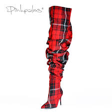 <b>Limited Edition Pink Palms</b> Shoes Women Pleated Boots in Sexy ...