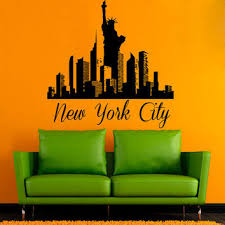 liberty bedroom wall mural: ny wall decals new york city stickers skyline pattern statue of liberty home interior design mural