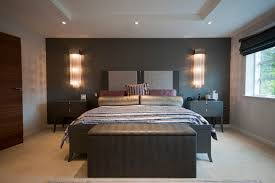 contemporary property in cheshire contemporary bedroom idea in manchester with gray walls and carpet bedside lighting ideas