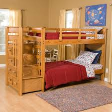 awesome oak wood bunk beds with red cover bed set and stairs as custom cool beds ideas as well as square grey rugs in teenage boys bedroom designs bedroom kids bed set cool beds