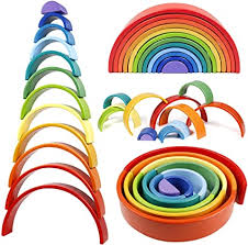 Lewo 12 PCS Wooden Rainbow Stacker Extra Large ... - Amazon.com