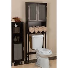 bathroom dark wood hanging shelves