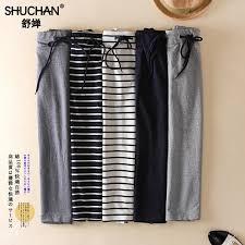 <b>SHUCHAN</b> mid Long Skirt Summer <b>Cotton</b> Skirt Straight Casual ...
