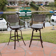 bar height patio chair: set of  outdoor patio furniture cast aluminum swivel bar stools