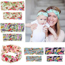 2pcs <b>Ears</b> Bow Floral Hairband <b>Mama</b> & Baby <b>Headband</b> Turban ...