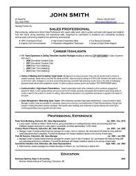 Resume Template Example For Sales Professional With Career Highlights In Selling Vacation Packages Resume Examples  Sales Representative
