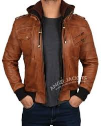<b>Mens Leather Jacket</b> With <b>Hood</b> - Premium Designs