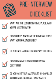dominate the interview and land your dream job pre interview checklist 1