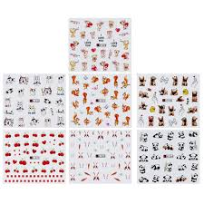<b>7pcs</b>/Set Nail Art Stickers <b>Cute</b> Animals Water Transfer Manicure ...