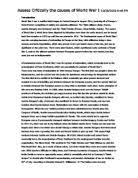 the causes of world war    international baccalaureate history    assess critically the causes of world war i