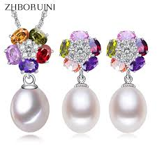 <b>ZHBORUINI 2019</b> Pearl Jewelry sets <b>Natural</b> Freshwater Pearl 925 ...