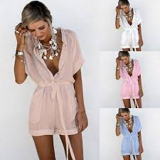 <b>S</b>-<b>2XL</b> V Neck Short Sleeve Mini Playsuit Sashes Casual Leisure ...