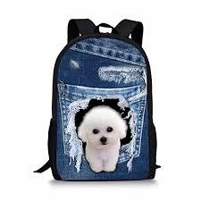 Kids School-bag Jeans Cute Puppy Print Child Bookbag Boys Girls ...