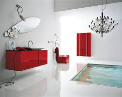 f contemporary bathroom design with unqie frameless wall mirror above red gloss floating washbasin and cool pendant lights 1011x800 awesome bathroom design nice pendant