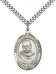 Sterling Silver St. Maximilian Kolbe Pendant with 24 ... - Amazon.com
