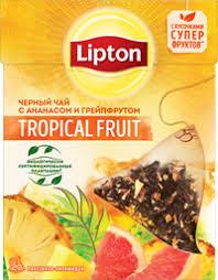 <b>Чай черный LIPTON Tropical</b> fruit <b>tea</b> с кусочками фруктов к/уп ...