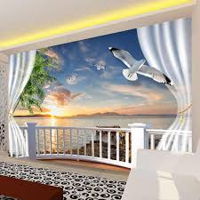 <b>Custom 3D</b> Photo Wallpaper Balcony <b>Sea View</b> Non woven ...