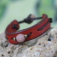 Men's <b>Unique Modern</b> Leather Wristband Bracelet, 'Red Standout' (с ...