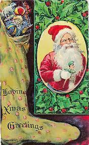 C1910 Санта-Клауса, <b>носок</b> игрушки Холли рельефные желатин ...
