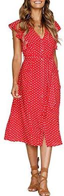 MITILLY <b>Women's Summer Boho</b> Polka Dot Sleeveless V Neck ...