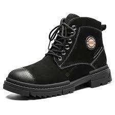 <b>SENBAO Men's</b> Non-slip <b>Boots</b> Solid Color Lace-up <b>Shoes</b> Pigskin ...