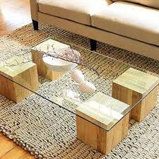 custom built wood blocks with glass tabletop amazing contemporary furniture idea amazing glass table top