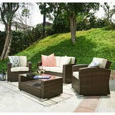 brown wicker outdoor furniture dresses: bahia tan  piece outdoor wicker conversation set