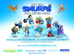 united nations sustainable development agenda smurfs team up united nations in 2017 for a happier more peaceful and equitable world