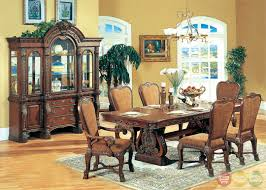 rustic hutch dining room: sandra rustic medium wood formal dining set with buffet and hutch