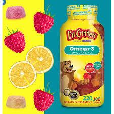 Lil critters <b>Omega</b>-<b>3</b>, <b>Raspberry</b>-<b>Lemonade</b> Fl, <b>120</b> and 220 Gummies
