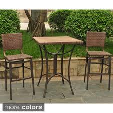 wicker bar height dining table: international caravan barcelona resin wicker aluminum  inch square bar height bistro group