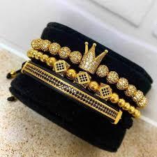 <b>Hot</b> Fashion Men Royal Crown Bracelets <b>Set Luxury</b> Silver Gold ...