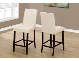 <b>DINING CHAIR</b> - <b>2PCS</b> / IVORY LEATHER-LOOK COUNTER HEIGHT