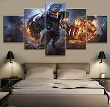 <b>5 Panel LOL League</b> of Legends Vi Game Canvas Printed Painting ...
