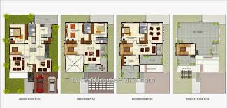 Four floor Four BHK Independent villa house plan in sq ft    Find the above image for four floor luxury villa house plans in Bangalore India  Above is the four bedroom house having two cars parking area  Home theater