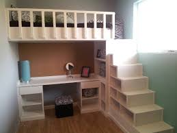 loft bed and desk with shelves as stairs bunk bed desk