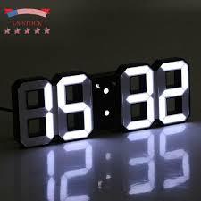 Modern Digital <b>3D LED Wall Clock</b> Alarm Clock Snooze 12/24 Hour ...